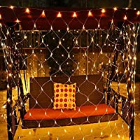 LED Net Mesh Fairy String Decorative Lights 200 LEDs 9.8ft x 6.6ft LED Net Lights Tree-wrap Warm White Lights with Remote for Christmas Outdoor Wedding Garden Decorations