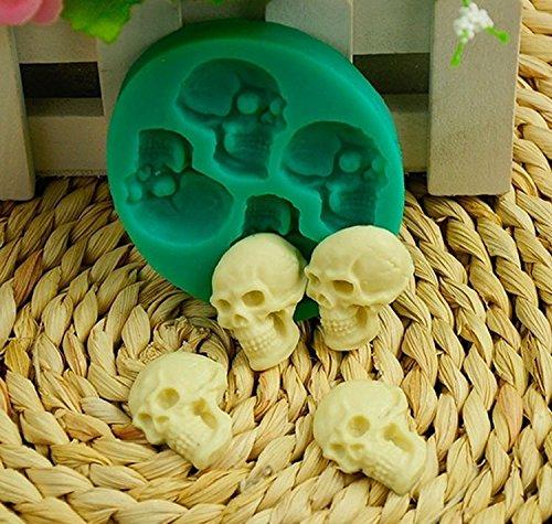 Preisvergleich Produktbild Halloween Skull 3D Silikon Formen Jelly Pudding Backen Werkzeug für Kuchen Lebensmittelqualität Fondant Formen Totenkopf Kuchen Dekorationen