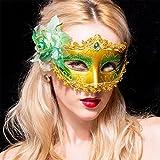 Masques Halloween Party Fun Coiffure fantaisie femme adulte demi masque de visage,Green,C