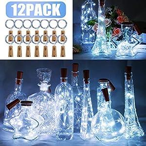 12 Stück LED Flaschenlicht, BIG HOUSE 20 LEDs 2M Lichterkette Kupferdraht batteriebetriebene Weinflasche Lichter mit…