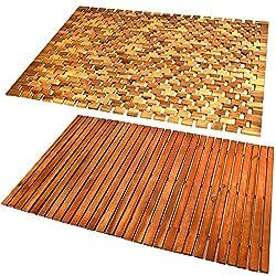Deuba® Wooden Bath Mat Duckboard | FSC® Certified Acacia Wood | Non Slip Bathroom Spa Shower Mat Sauna Mosaic Rectangular Luxury Modern Doormat 80x50 cm