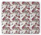 Tapis de souris de mariage, appareil photo vintage avec bouquet de fleurs Pansy Pansy Rose Blooms Birds Butterflies, Mousepad en caoutchouc antiglisse de taille standard, rose séché, rose beige