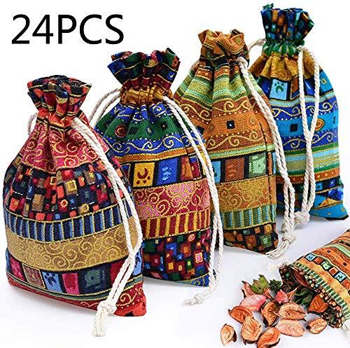 Descripción: Perfecto para usar cuando viajas. Estas bolsas son fáciles de usar pero elegantes y especiales al mismo tiempo. color: multicolor. Material: Algodón. Tamaño:10 * 14 cm. Contenidos del paquete: 24x bolsa de regalo con cordón