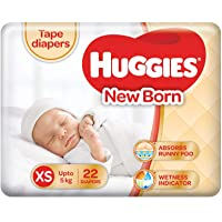 Huggies Taped Diapers, New Born (XS) Size (Upto 5 kg), 22 Counts