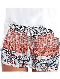 moonuy Été Confortable Femmes Stripe Pocket Loose Pantalon Lady Casual  Taille Haute Summer Beach Shorts Pantalons 34f3a2668aa3