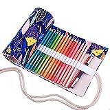 Amoyie Sacchetto della Matita Tela Rotolo Astuccio per 36 matite Colorate - Tela astucci (No Inclusa matite), Pesce Blu