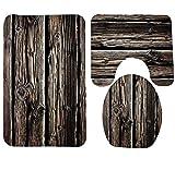 3 Stück Badteppich Set Creative Antique Holz Muster Druck Bad Teppich große Kontur Matte mit Deckel Abdeckung , 7