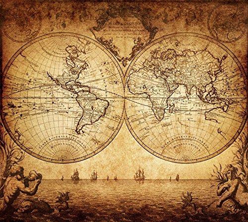 Aux Prix Canons - Poster Affiche Carte du Monde Planete Marin Pirate Vintage Style ancien 91x101 cm