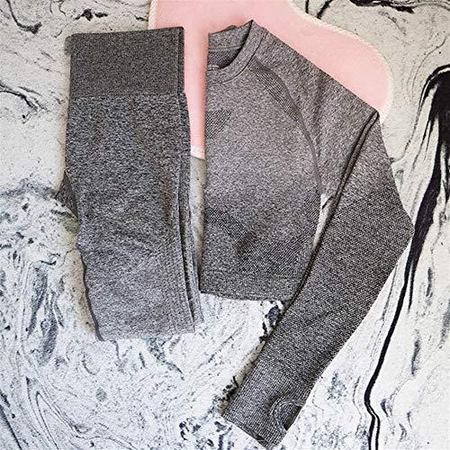 Top-scrunch (LAOBIAOZI Nahtlose 2 Stück Set Frauen Sport Anzug Gym Workout Kleidung Langarm Fitness Crop Top Und Scrunch Butt Leggings Yoga Set (Color : Dark Grey, Size : S))