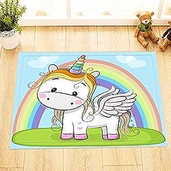 LB unicornio de dibujos animados lindo está volando sobre el arco iris,alfombra de baño/alfombra,40 × 60 CM