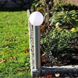LHG Moderne Wegeleuchte aus Edelstahl | Lampenglas Polycarbonat Ø 12cm | Außenleuchte Höhe 50cm | Leuchten Fassung E27