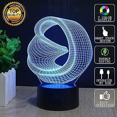 Abstrait 3D Lampes Illusions Optiques, FZAI Amazing 7 Changing Colors Acrylique Touch Button Table Bureau Night Light avec 150cm Câble USB Décoration de maison