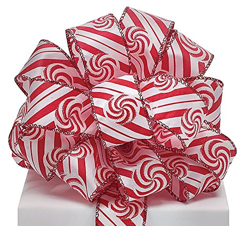 # 9Peppermint Candy Swirl Satin Band mit Draht 3,8cm X 20Yard Rolle - Peppermint Candy Crafts
