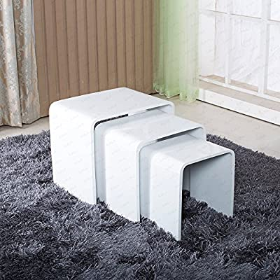 Modern Design White High Gloss Nest Of 3 Coffee Table Side Table Living Room