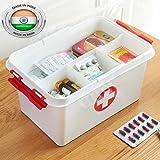 SHOPPOSTREET First Aid Box Lockable Medicine Storage Box Plastic Emergency Cabinet Organizer with Detachable Tray and…