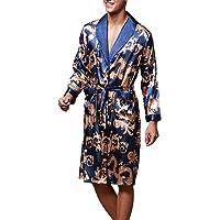 OLIPHEE Uomo Accappatoi Kimono da Notte Vestaglie Pigiama Biancheria Lighweight Gowns