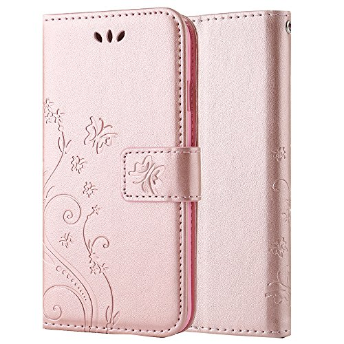 Price comparison product image For Samsung Galaxy S7 Edge Case, Magnetic PU Leather Flip Wallet Case, Butterfly Flower Pattern Stand Card Slot Case For Samsung Galaxy S7 Edge -Rose Gold