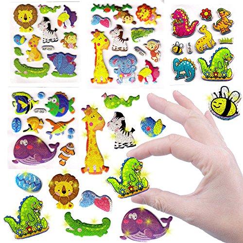 German Trendseller® - Kleine Glitzer Sticker Bögen ┃ NEU ┃ Viele Motive ┃ Kindergeburtstag ┃ Mitgebsel ┃ Aufkleber für Kinder ┃ 6 Bögen