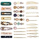 Opopark 30 Pezzi Perle Fermagli per Capelli Forcine Barrette per Capelli Artificiali per Donna Ragazze Copricapo Accessori pe