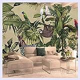 BHXINGMU Custom 3D Fototapete Vintage Tropischen Regenwald Vogel Palmblättern Wohnzimmer Tv Hintergrund Wandbild Tapeten 230 Cm (H) X 310 Cm (W)