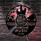 Meet Beauty Kreative Musikinstrumente Gitarre Drums Band Wandleuchte-Vintage Handgefertigte Wohnkultur LED Vinyl Record Nachtlicht Wanduhr 30CM