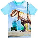 Dino World, Dinosaurio Niños Camiseta, Azul Claro