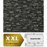 Papel pintado no tejido XXL EDEM 918-39 con relieve aspecto piedra natural piedra de cantera gris pizarra 10,65 qm