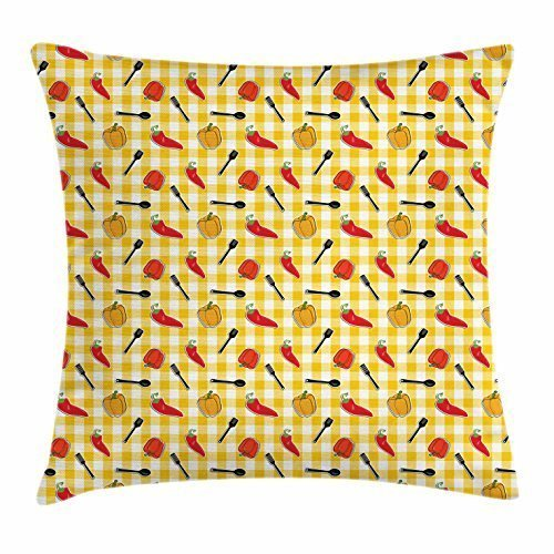 Kissenbezüge Food Throw Pillow Cushion Cover, Checkered Squares Pattern with Chili and Bell Peppers Plastic Spatula Spoon Cooking, Decorative Square Accent Pillow Case, 18 X 18 Inches, Multicolor