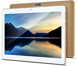 10 Zoll Android Tablet PC PADGENE 32G Speicher 2G RAM 5MP Hinten & 2MP Frontkamera Dual-SIM Slots USB/SD IPS HD 1280x800 WiFi/3G/2G Entsperrt Bluetooth GPS Telefonfunktion(Gold)