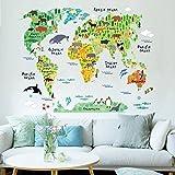 Awakink Vinilo autoadhesivo para pared, diseño mural de mapa del mundo con dibujos infantiles, ideal para habitaciones de niños o en sala de estar