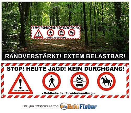 Lichtfieber Werbetechnik Banner Baumfällungen / Absperrung / Sicherheit Forstarbeiten Plane 300 x 80cm / Banner Waldarbeiten