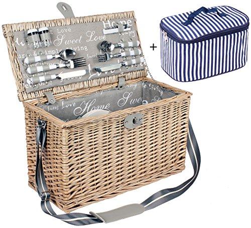 4 Personen Weiden Picknickkorb Picknickkoffer Set mit Kühltasche, Besteck, Weingläsern, Tellern Etc