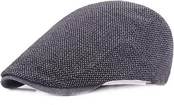Berretto da Uomo,Uomo Cotone Cappuccio Berretti Vintage Hat,Cotone Regolabile del Flat cap,Fashion Forward cap,Cappello da Sole da Viaggio All'aperto(55-60 cm, Nero)