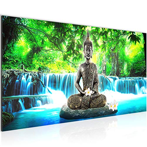 Bilder Buddha Wasserfall Wandbild Vlies - Leinwand Bild XXL Format Wandbilder Wohnzimmer Wohnung Deko Kunstdrucke Blau 1 Teilig - MADE IN GERMANY - Fertig zum Aufhängen 503512b