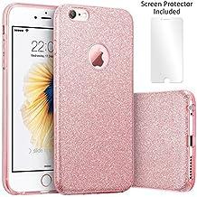TecHERE StarCase - Coque Etui à La Mode pour iPhone 6 / 6s (4,7 pouces) - Strass Paillette Brillante Bling Glitter Housse en Silicone Antichoc - Protecteur d'écran Inclus (Rose Or)
