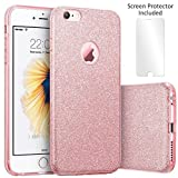 TecHERE StarCase – Glitzer Sparkle Hülle für Apple iPhone 6 / 6s (4.7 Zoll) - Stoßsicherer Luxus Premium Silikon TPU Schutzhülle - Displayschutzfolie und Reinigungstuch enthalten (Roségold)