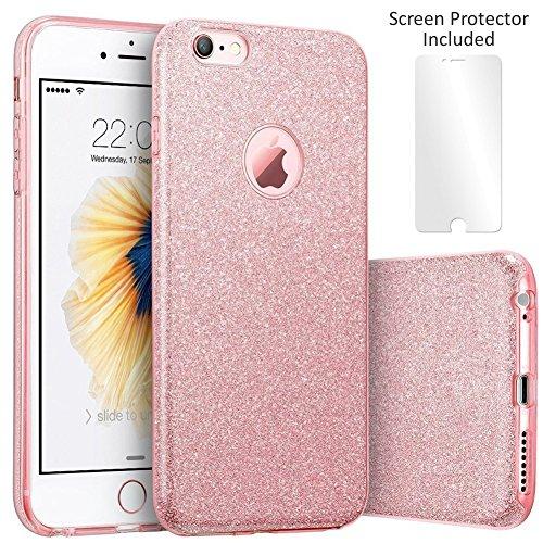 Techere starcase - custodia morbida con brillantini glitter per apple iphone 6s iphone 6 (4.7 pollici) - cover di alta qualità in silicone gel con pellicola protettiva proteggischermo inclusa (rosa)