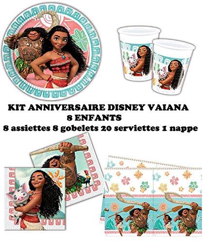 Kit anniversaire Disney Vaiana Complet 8 enfants (8 assiettes, 8 gobelets, 20 serviettes, 1 nappe) fête