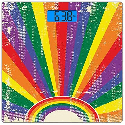 Präzisions-Digital-Körpergewichtswaage Vintage Rainbow Ultra Slim Gehärtetes Glas-Personenwaage Genaue Gewichtsmessungen, verwittert Aussehende bunte Strahlen platzen Homosexuell Parade LGBTI-Festival