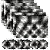 Homcomoda Washable Vinyl Placemats and Coasters Set of 6(Grey)