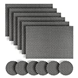 Homcomoda Washable Vinyl Placemats and Coasters Set of 6(Grey)