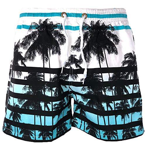 üm Mare Boxer Corto hellblau weiß Palme Miami Elastisch Taille Beachwear Shorts Corti Shorts Palme Bermuda Floreale Summer Strümpfe, Costume-Miami, Weiß, Costume-Miami 56 ()