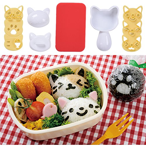 Reis Ball klein Set, Lovely Cartoon Pattern DIY Sushi Bento Nori Reis Formenbau Cat-shaped (Silikon-formenbau-gummi)