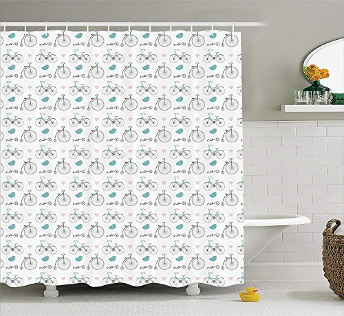 Bicycle Decor Shower Curtain Set, Diverse Size Repeating Nostalgic Bikes with Heart and Leaf Motifs Hipster Art Design, Bathroom Accessories, 66x72 inches, Soft Pink Turquoise
