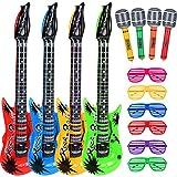 Hicarer Conjunto de Juguete de Estrella de Rock 4 Guitarras Inflables 4 Micrófonos Inflables y 6 Gafas de Persiana para Materiales de Fiesta de Navidad