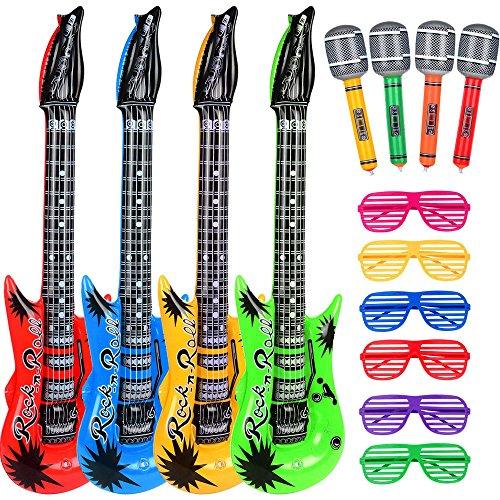 Hicarer Rock Star Spielzeug Set Enthält 4 Aufblasbare Gitarre 4 Aufblasbare Mikrofon und 6 Shutter Shade Atzenbrille für Weihnachten Party (Set Club Rock)