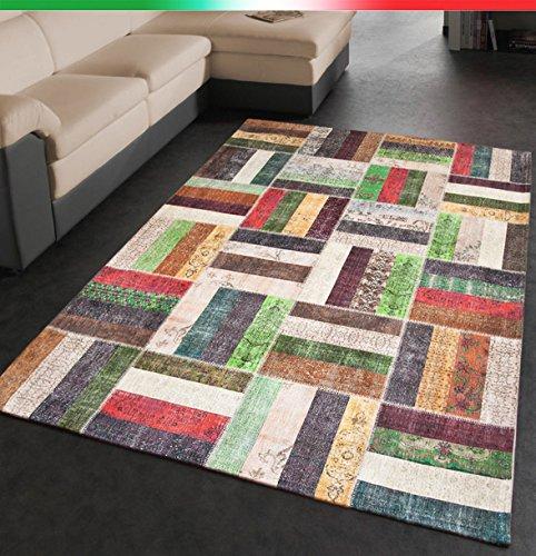 Tappeto arredo moderno multicolore sala salotto scendi letto bagno retro antiscivolo 7 misure disponibili mod.aida 100x150