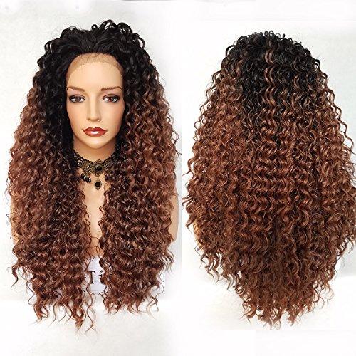 Perruque en cheveux synthétiques bruns frisés pour femme avec bordure frontale - Racines sombres - Pas de colle nécessaire - 70 cm