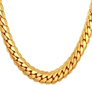 U7 18K Gold Plated Necklace with 18K Stamp Men Jewelry 4 Colors 6 MM - 9MM Wide Snake Chain Necklace,18
