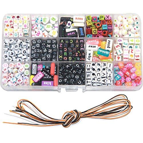(Ewparts Kinder DIY Armband Buchstaben Perlen, Acryl Alphabet Buchstaben Perlen für Schmuck machen, Armbänder, Halsketten, Schlüsselanhänger und Kinder Schmuck)
